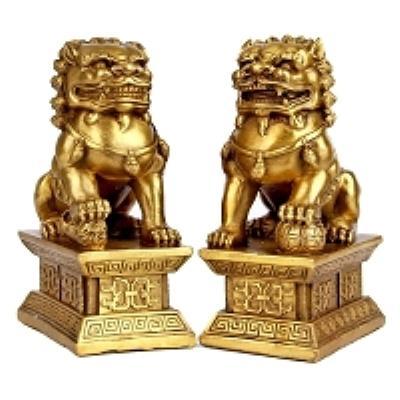 崇宇工艺 真实开光铜狮子镇宅化煞黄铜狮子一对招财促官运家居桌