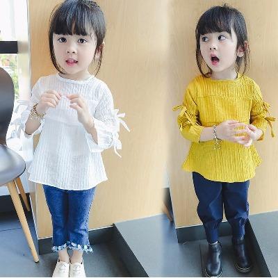【75%棉+25%氨纶】女童长袖T恤打底衫夏季儿童韩版上衣娃娃衫