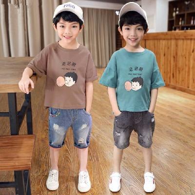 男童夏装短袖2018夏季新款韩版宽松纯棉t恤儿童中大童圆领上衣潮