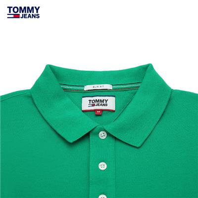 TOMMY JEANS 男�b201春季 棉�|��s�色短袖POLO衫-DM0DM00488OS