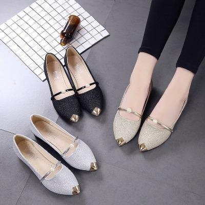 女明星同款鞋上班女鞋网红欧洲站新款平底尖头夏季鞋女原宿风学生