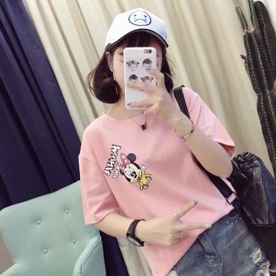 夏装新款韩版米老鼠2018短袖t恤女米奇宽松学生打底百搭半袖上衣