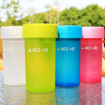 磨砂新款可爱便携塑料水杯防漏密封塑料杯小巧带盖创意时尚塑料杯 蓝