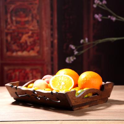 美式实木果盘软装饰品欧式摆件餐厅酒店复古木质茶托盘收纳盘子