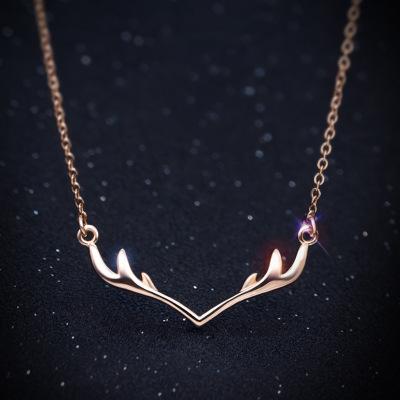 六隆珠宝S925纯银小鹿角项链女 时尚锁骨链吊坠日韩学生女友礼物