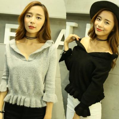 2020春秋毛衣韩版女人味可爱针织上衣黑灰纯色短款女套头针织衫潮