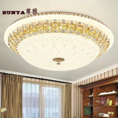 欧式吸顶灯简欧水晶圆形卧室灯LED 温馨房间客厅过道批发玻璃灯具