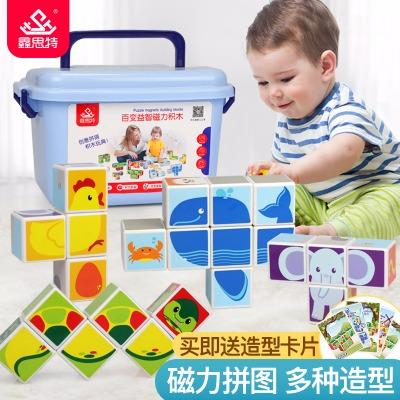 儿童宝宝拼装玩具益智磁力拼图立体积木方块0-1-3-6周岁 送收纳盒