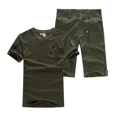 夏季户外军迷短袖T恤军装作训迷彩服纯棉短裤训练男女套装包邮