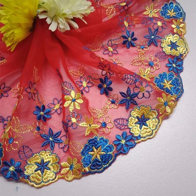 新款彩色蕾丝网纱花边辅料DIY服装裙子衣摆装饰 (宽20CM 长1米)