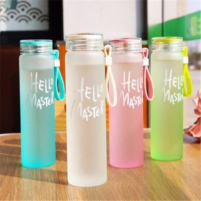 破损包赔耐热渐变色玻璃杯便携水杯磨砂玻璃杯杯子女学生韩版可爱