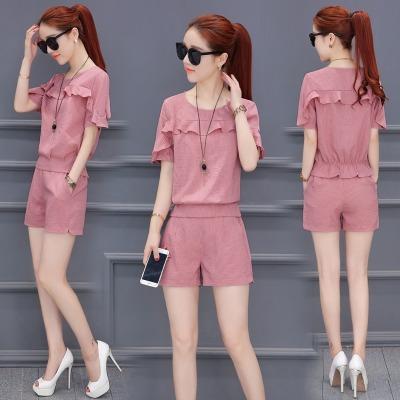 2020夏装新款女装洋气套装女夏季两件套时尚小香风短裤韩版气质潮