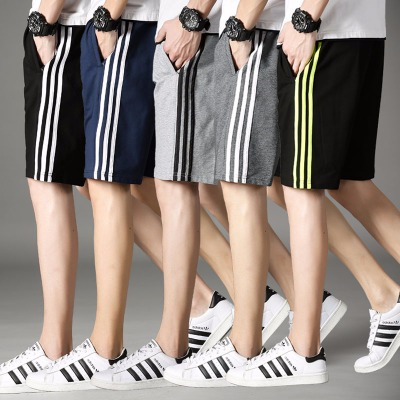【口袋拉链】男式休闲运动裤简约卫裤加肥加大码五分短裤棉三条杠