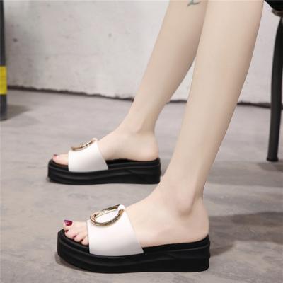 拖鞋女夏外穿2020韩版新款松糕厚底一字拖鞋时尚坡跟增高凉拖鞋女