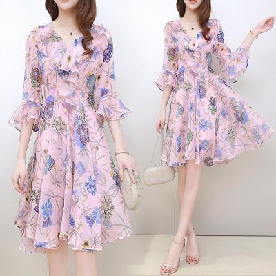 冷淡风裙子女长裙夏装韩版修身V领荷叶袖印花雪纺显瘦仙女连衣裙