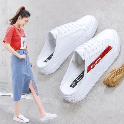 半拖小白鞋女明星同款学生韩版懒人鞋夏季新款平底鞋无后跟单鞋